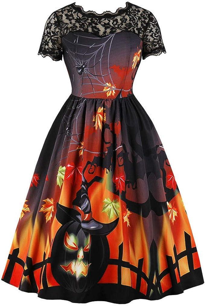 Vestiti Eleganti Halloween.Cloom Fashion Abito Donne Manica Corta Halloween Retro Pizzo