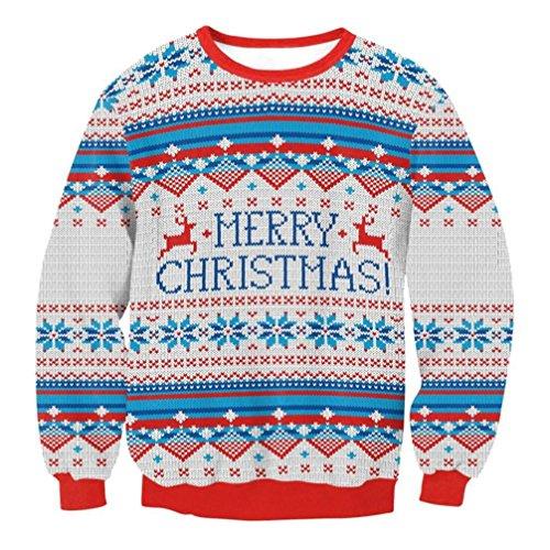 kaifongfu Women Men Xmas Christmas Sweater, Vacation Sweatshirt Santa Novelly Blouse (Gray, XL) ()