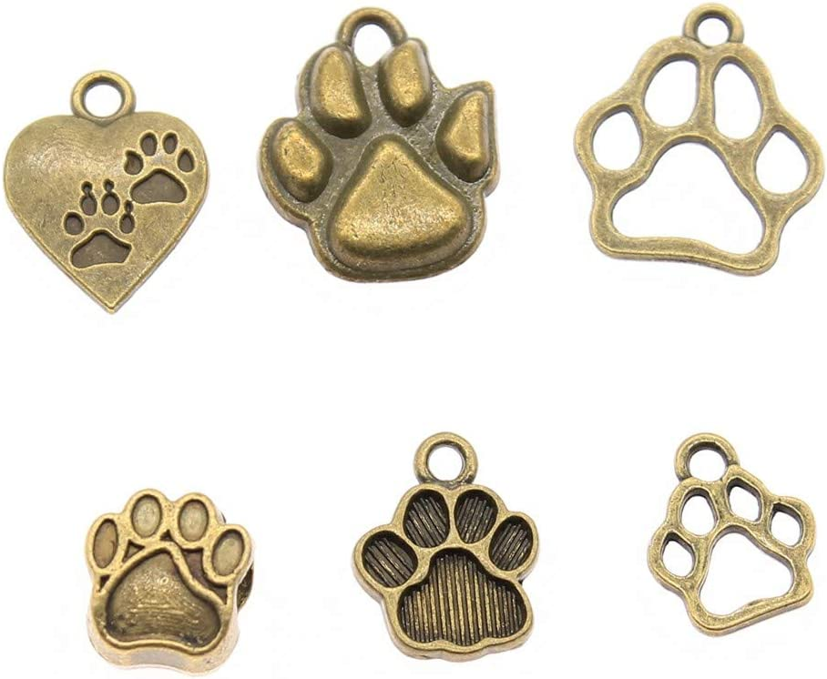 Abalorio de hueso de perro para hacer joyas WYS-Dog PawA1 de bronce plata envejecida hecho a mano 100 g
