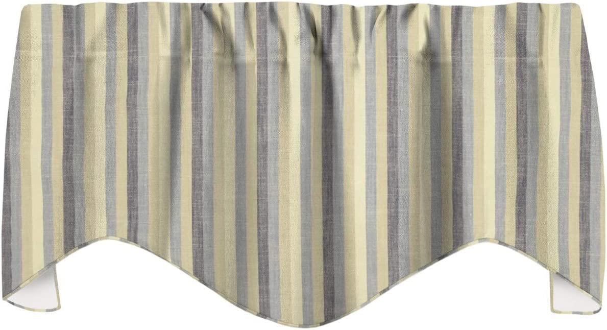 Window Treatments Valence Curtains Kitchen Window Valences or Living Room, Ellen DeGeneres Fabric, Blue Striped Window Valance, 53x18