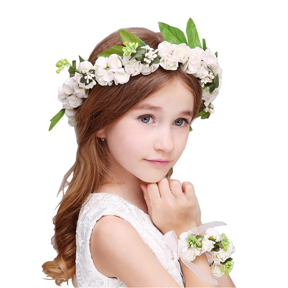 Lemoncy Flower Crown Headband Girls Floral Crown Wreath with Wrist Band for parties Wedding Festivals (White)