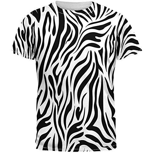 (Zebra Print White Sublimated Adult T-Shirt - Medium)