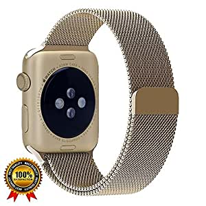 Smart Milanese Loop Replacement Band for Apple Watch 38mm & 42mm, Stainless Mesh Band With Updated Strong Magnet Clasp for Series 3|2|1 Nike+ Sport Edition for Apple iWatch (Gold, 38mm)