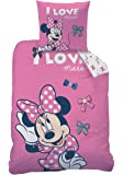 "Bettwäsche Set Disney Minnie Mouse 135x200cm + 80x80cm Biber/Flanell ""Stylish"""