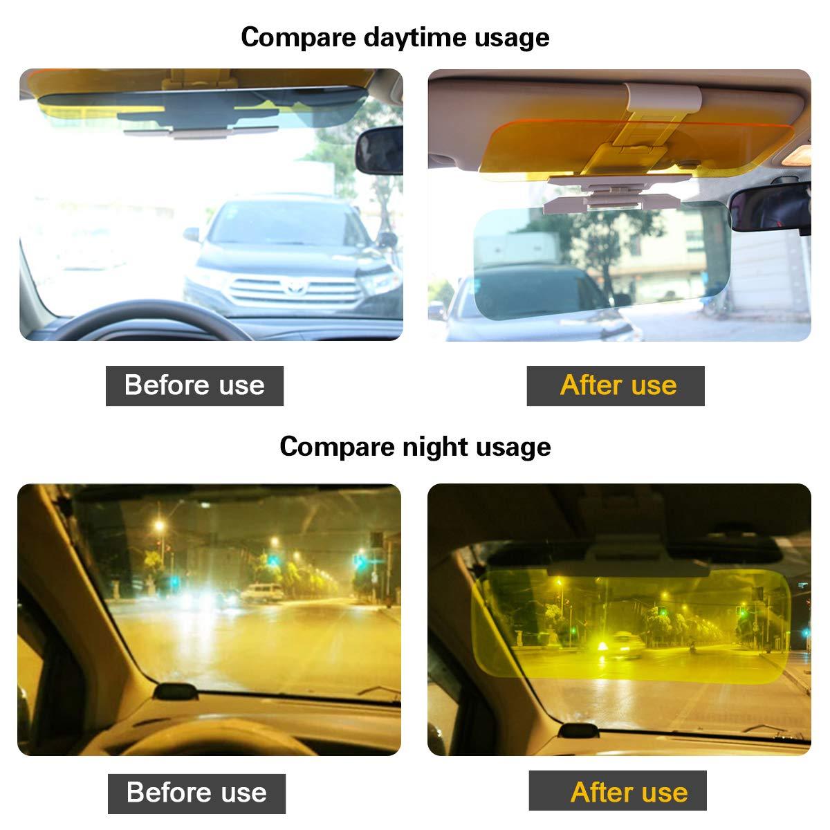 CAR-REP Auto Blendschutz Windschutzscheibe Sonnenblende Extender 2 in 1 für Tag- und Nachtgebrauch Schützt vor UV-Strahlung Scheinwerfer Heckklappen Reduziert die Augenbelastung