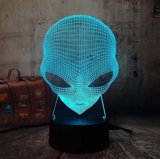 3D Emoji Alien Lámpara Mesa Escritorio Luz nocturna 7 Cambio de ...