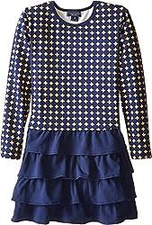 Toobydoo Baby Girl's The Paloma Ruffle Dress (Toddler/Little Kids/Big Kids) Yellow/Navy Dress