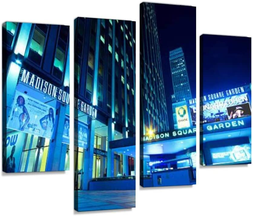 YKing1 Low Angle Night Shot of Madison Square Garden ny stadiums and Wall Art Painting Pictures Print On Canvas Stretched & Framed Artworks Modern Hanging Posters Home Decor 4PANEL
