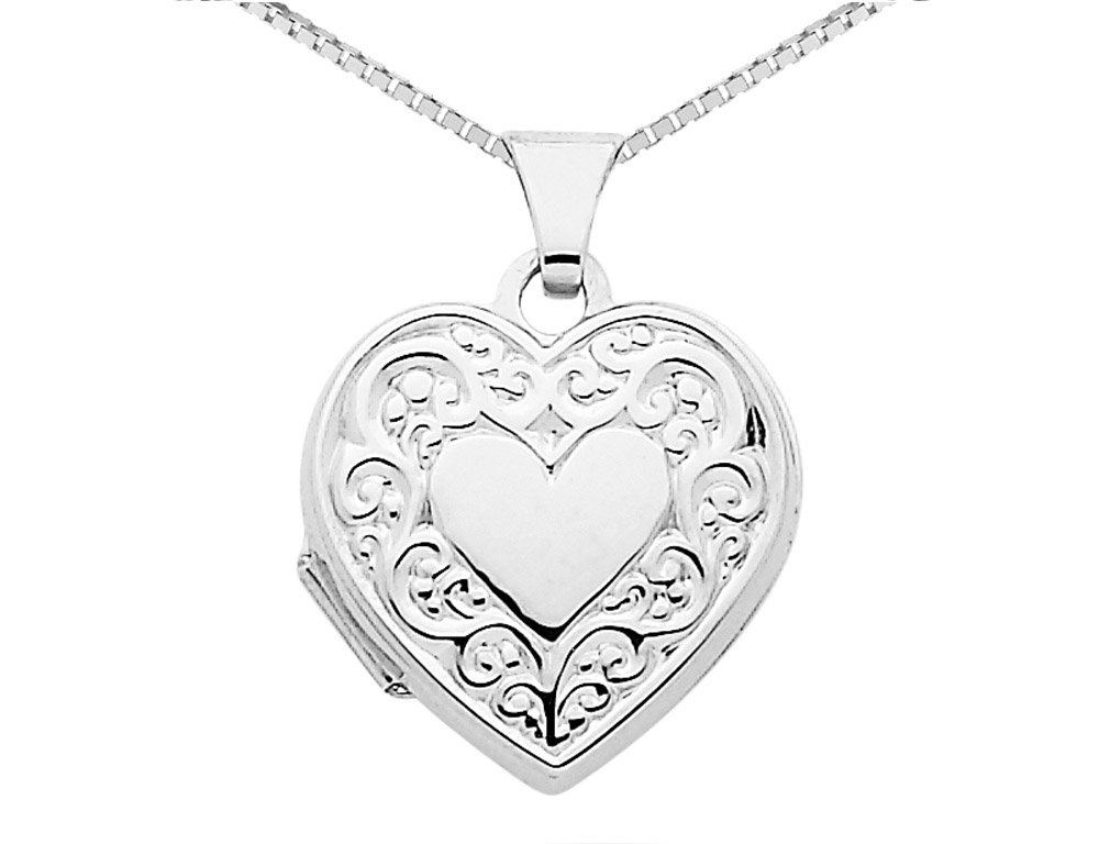 Heart Locket in 14K White Gold with Chain by Gem And Harmony