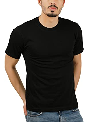 21b025887 Moonfy Men s Black Cotton Round Neck Solid Plain Regular Fit Half Sleeve T- Shirt  Amazon.in  Clothing   Accessories