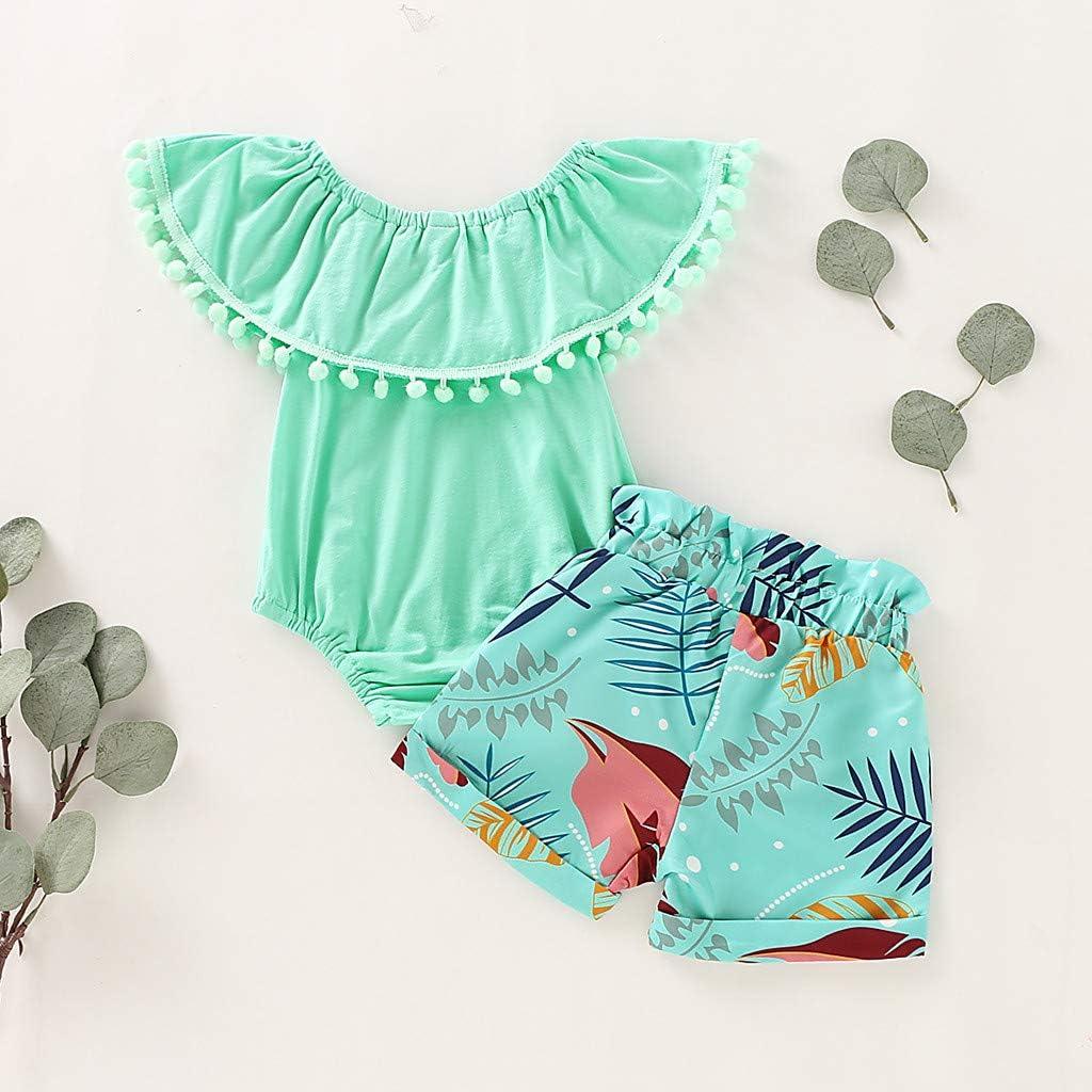 jerferr Baby Set Maedchen Neugeborene Kleidung R/üschen Strampler Floral Shorts Sommer Outfits Set