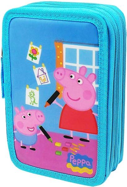 Estuche Peppa Pig Con Tres Compartimento: Amazon.es: Oficina y papelería
