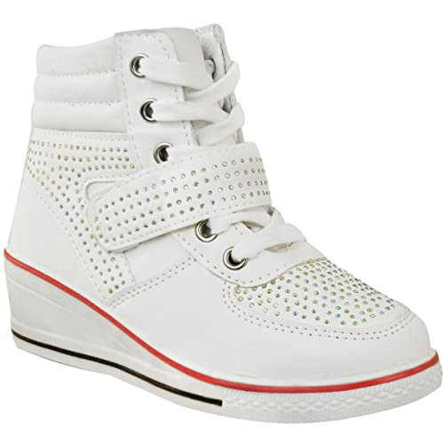 Fashion Thirsty Girls Kids Wedge Sneakers Lace Up Plimsolls Ankle Boots  Diamante Trainers Shoes Size Size