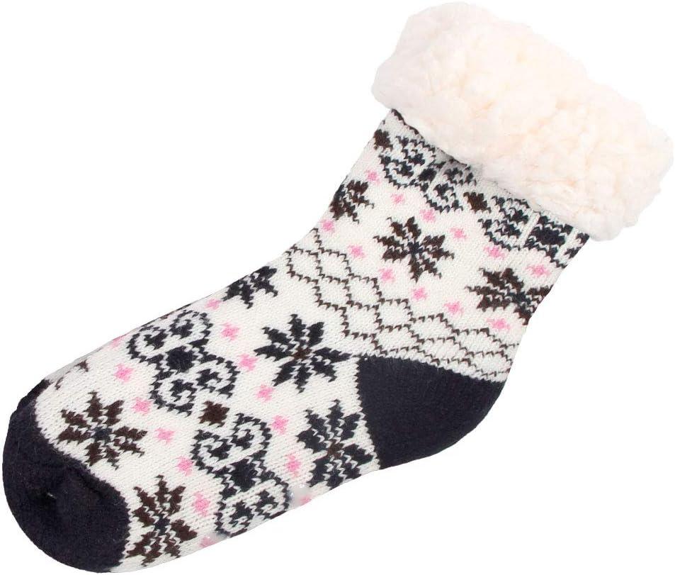 Trend-world Chaussettes antid/érapante pour Enfant Taille Unique 30-35 Super Douce id/ée Cadeau de Noel id/éale pour la Maison SO-W-107-3 wei/ß Schwarz Braun