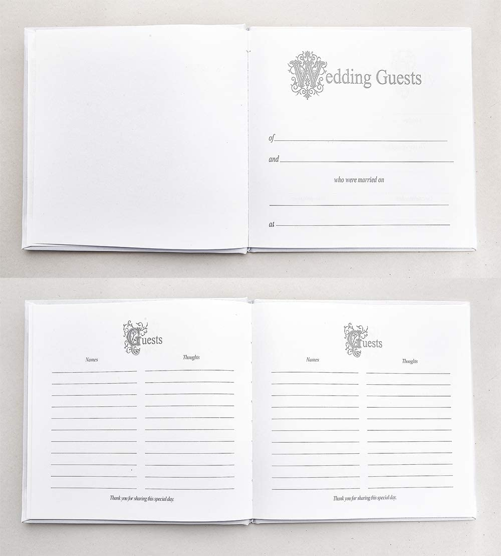 ATAILOVE Wedding Guest Book with Simple Design Trim and Gold Stamped Foil