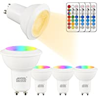 Jayool GU10 LED Light Bulbs, Dimmable 3W Colour Changing Spot Light with Remote, RGB + Warm White, Timer, 45 °Beam Angle (Pack of 4)