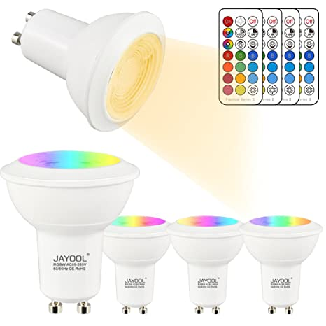 Jayool Bombillas LED Foco GU10, 3W Dimmable Colores Destacar Bombillas regulable con control remote,