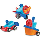 Learning Resources 1-2-3 Build it! Car, Boat, Plane, 15 Pieces