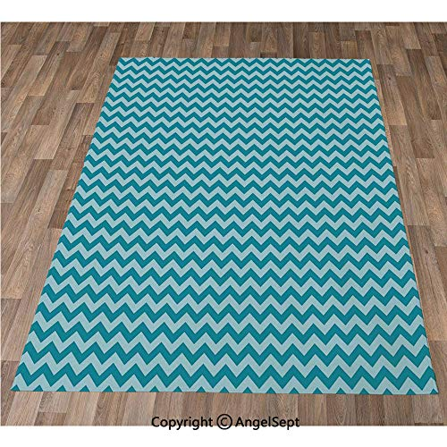 Non-Slip Super Soft Rugs Cozy Kids Bedroom Living Room Carpet 40x63in,Zigzags in Sea Colors Ocean Waves Nautical Theme Sailboat Decor Sea Breeze,Teal Light Blue Indoor/Outdoor Area Runners & Stair Ru