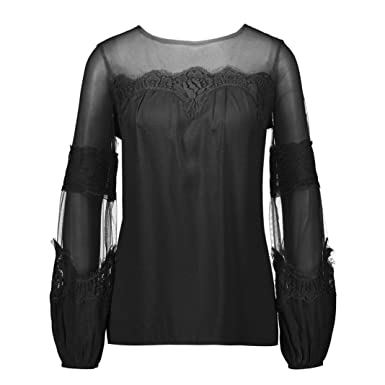 951eeca990ec Lace Long Sleeves Lace Panel Perspective Long Sleeve Top T-Shirt Women  Summer Beach Long Loose Duseedik at Amazon Women's Clothing store: