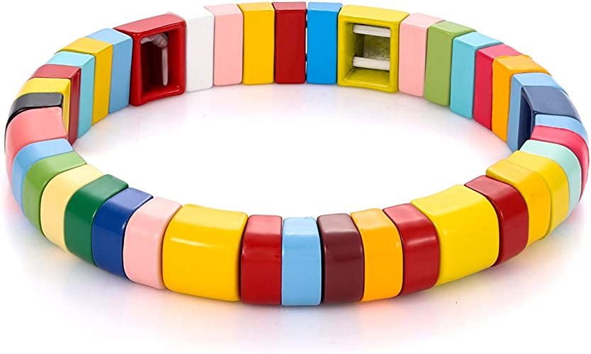 ZOLEAROPY Enamel Tile Bracelet Tila Rainbow Elastic Rectangle Bead Bracelet Minimalist Stretch Colorblock Layering Bracelet for Women Men