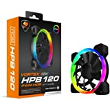 Cougar Hydraulic Vortex RGB HPB 120 PWM HDB, 120 mm Cooling Fan, Included Adapter to Connect Directly 5V RGB Connection…