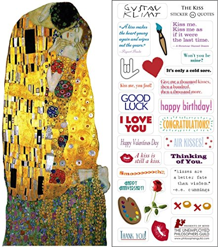 Klimt's Kiss Quotable Notable - Die Cut Silhouette Greeting Card and Sticker Sheet