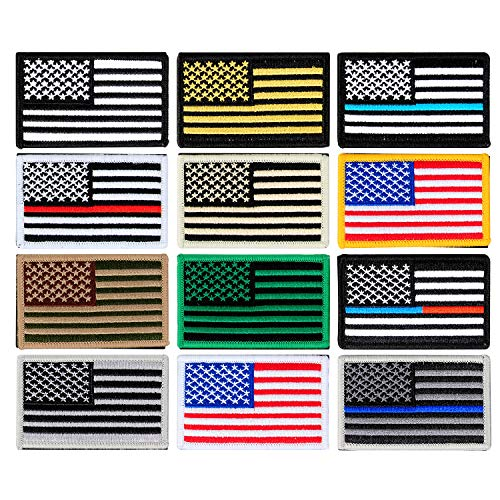 YUEAON 12 Pack Different American Flag Patch Iron on or sew on Military Morale Patches