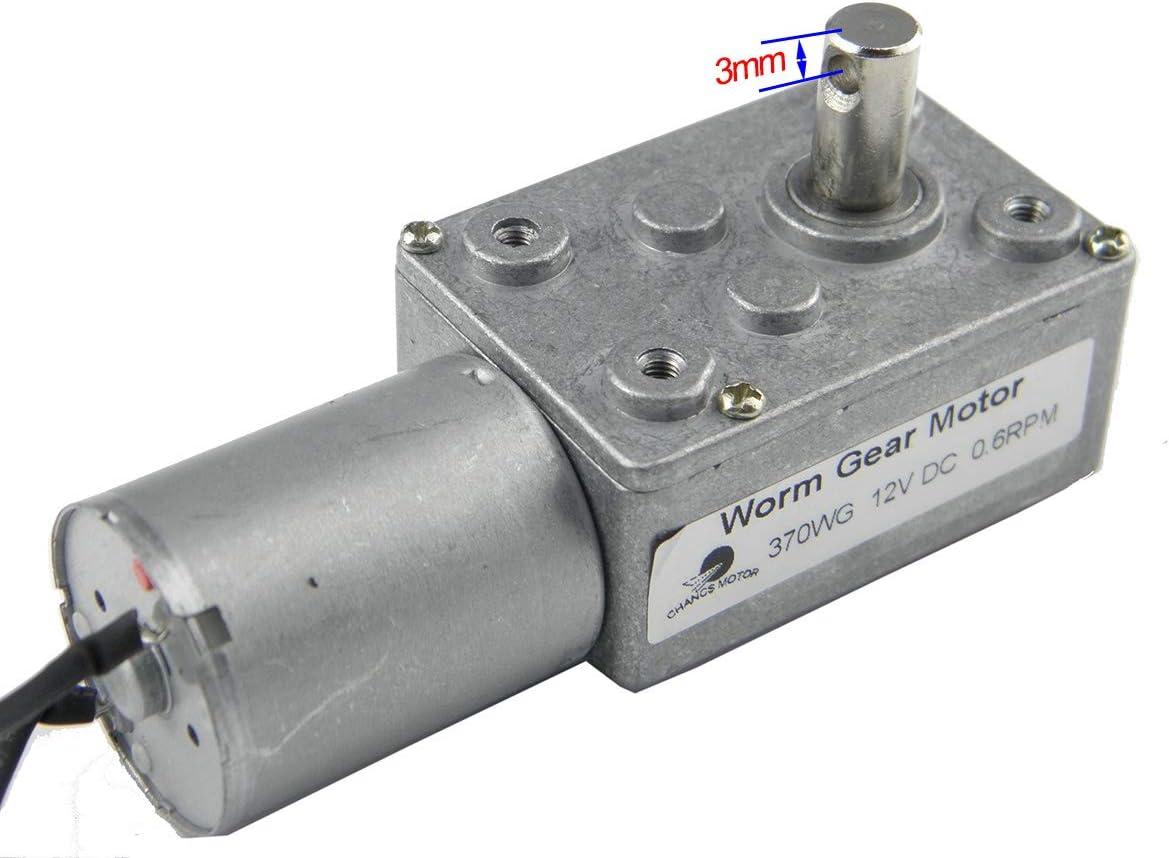 CHANCS 370WG Motor de engranaje de caja de tornillo sin fin 12V DC 0.6 RPM 30 kgf.cm Relaci/ón de engranajes 1//5300 Eje 14mm motor de baja velocidad dc fabricantes de motorreductores