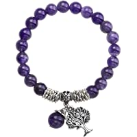 CrystalTears Tree of Life Chakra Bracelet, 8MM Beads Healing Crystal Lucky Charm Stretch Bracelet