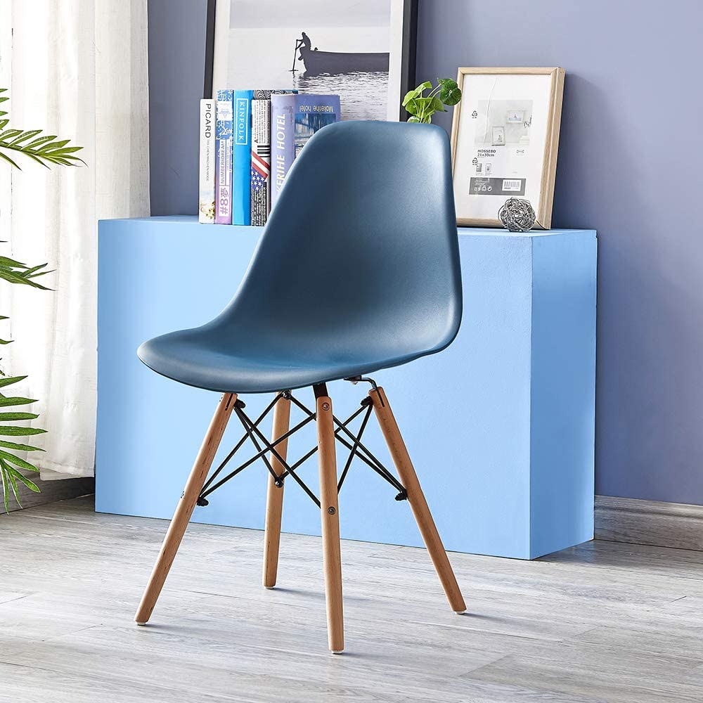 Volitation Dining Chairs Retro Side Dining Office Lounge Chair Plastic Seat with Wood Legs One Chair Ocean