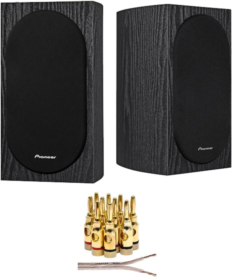 "Pioneer SP-BS22-LR Andrew Jones Designed 4"" Compact 2-Way Bookshelf Speakers (Pair) + 16 AWG Speaker Wire 100ft + Brass Speaker Banana Plugs 5-Pair (Open Screw)"