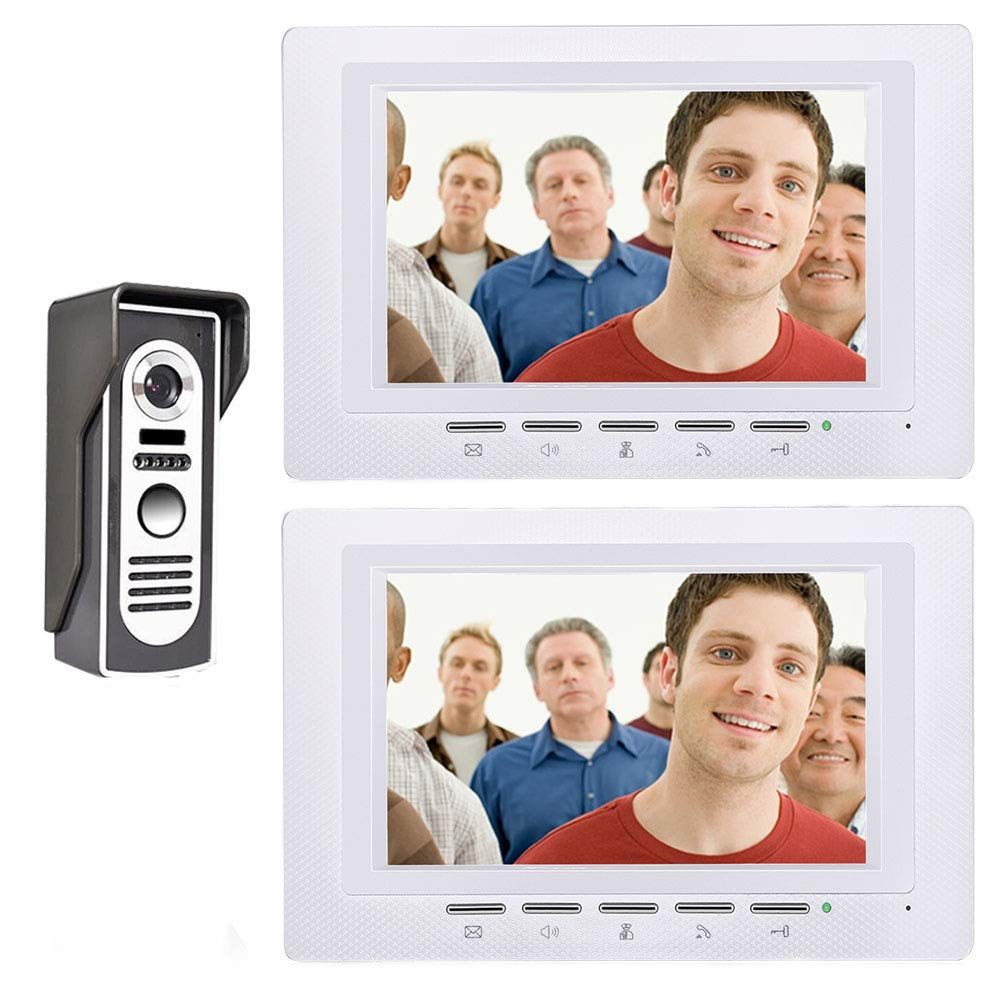 QZH 7-inch video doorbell access control system, wired video intercom doorbell kit, 2 monitors, night vision waterproof doorbell, for family villa