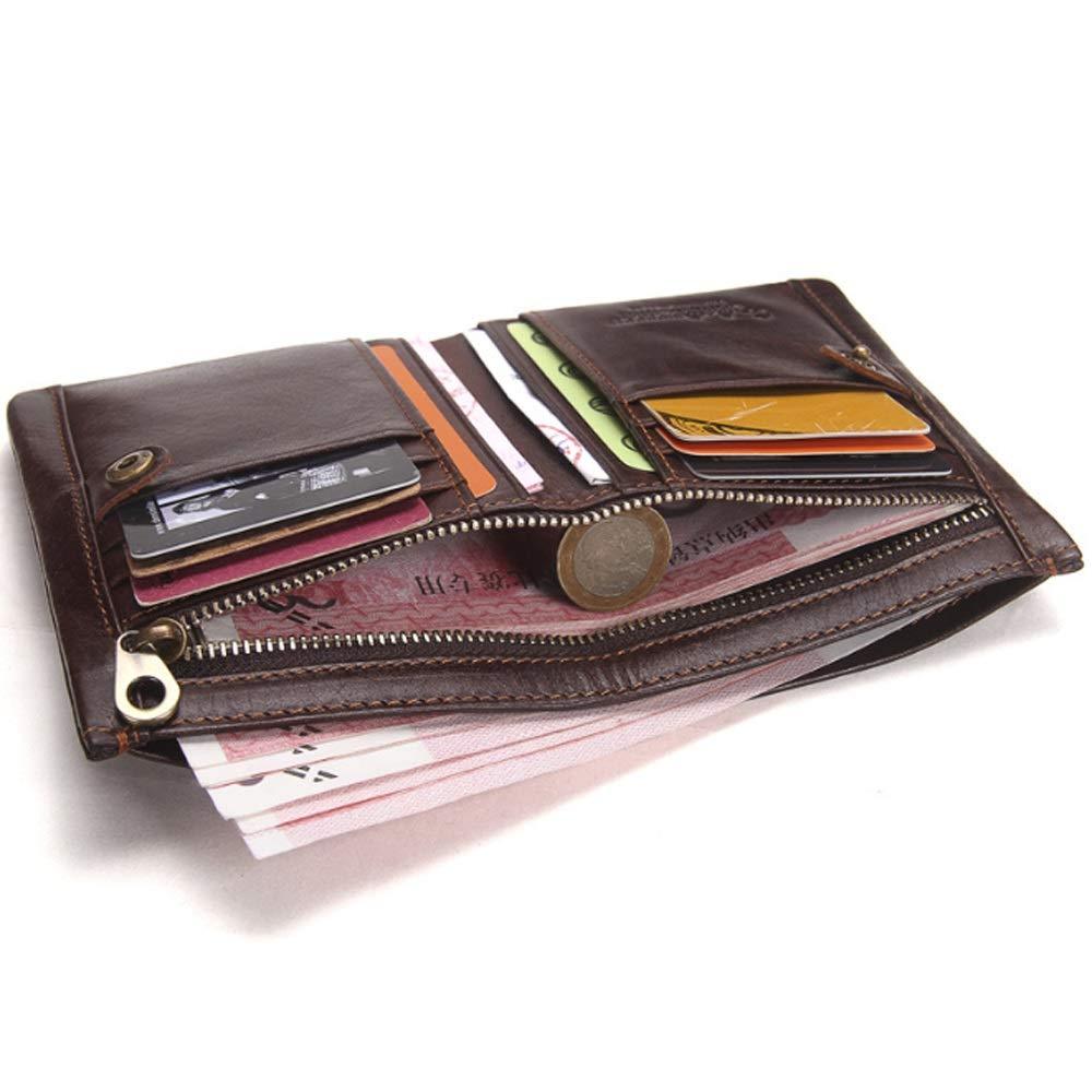 MUMUWU Mens Wallet Top Layer Leather Retro Leather Multi-Function Wallet Card Bag Color : Brown, Size : S