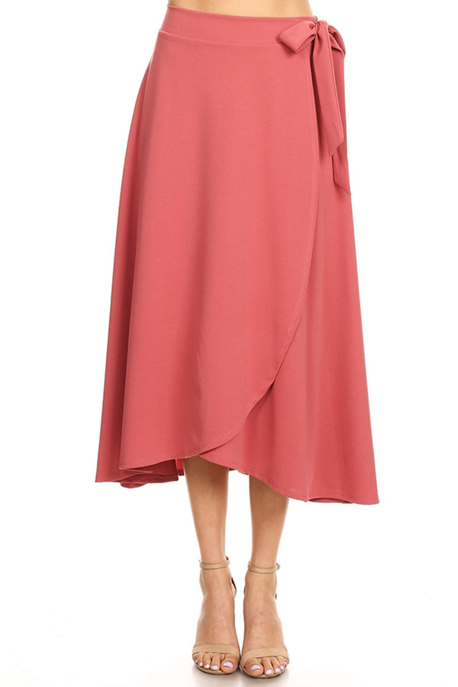 Solid Basic Faux Wrap Casual Loose Fit Elastic Waist Skirt/Made in USA Dusty Rose 3XL