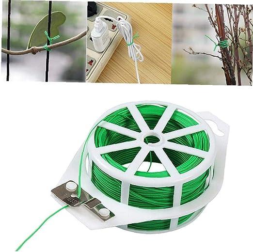 Case&Cover 20m multifunción Jardín precinto de Amarre del Cable de Alambre del Carrete con el Cortador Verde precinto de Amarre Carrete Recubierto de PVC Planta de Soporte Flexible: Amazon.es: Hogar