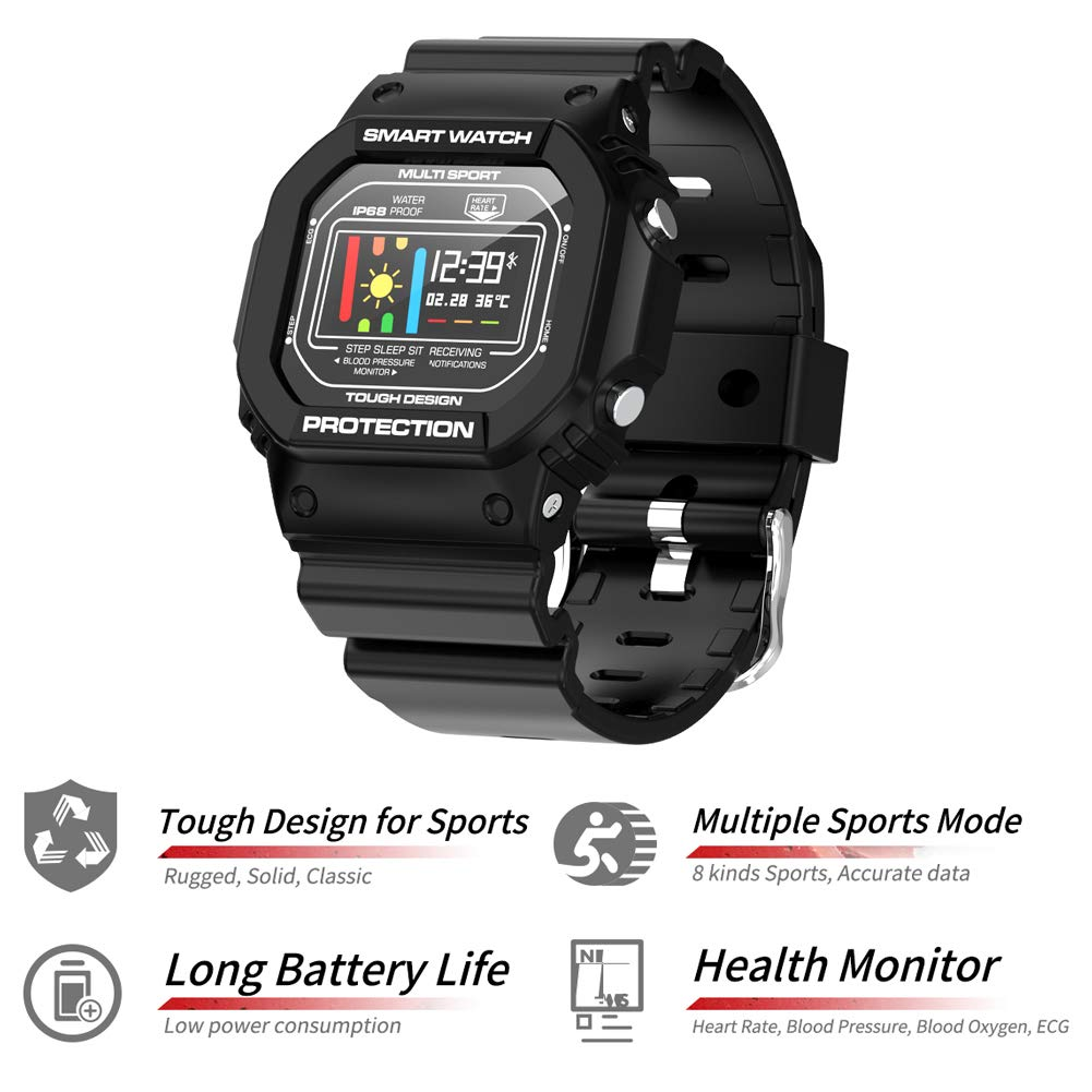 Padgene Reloj Inteligente IP68 Impermeable Pulsera Smartwatch ...