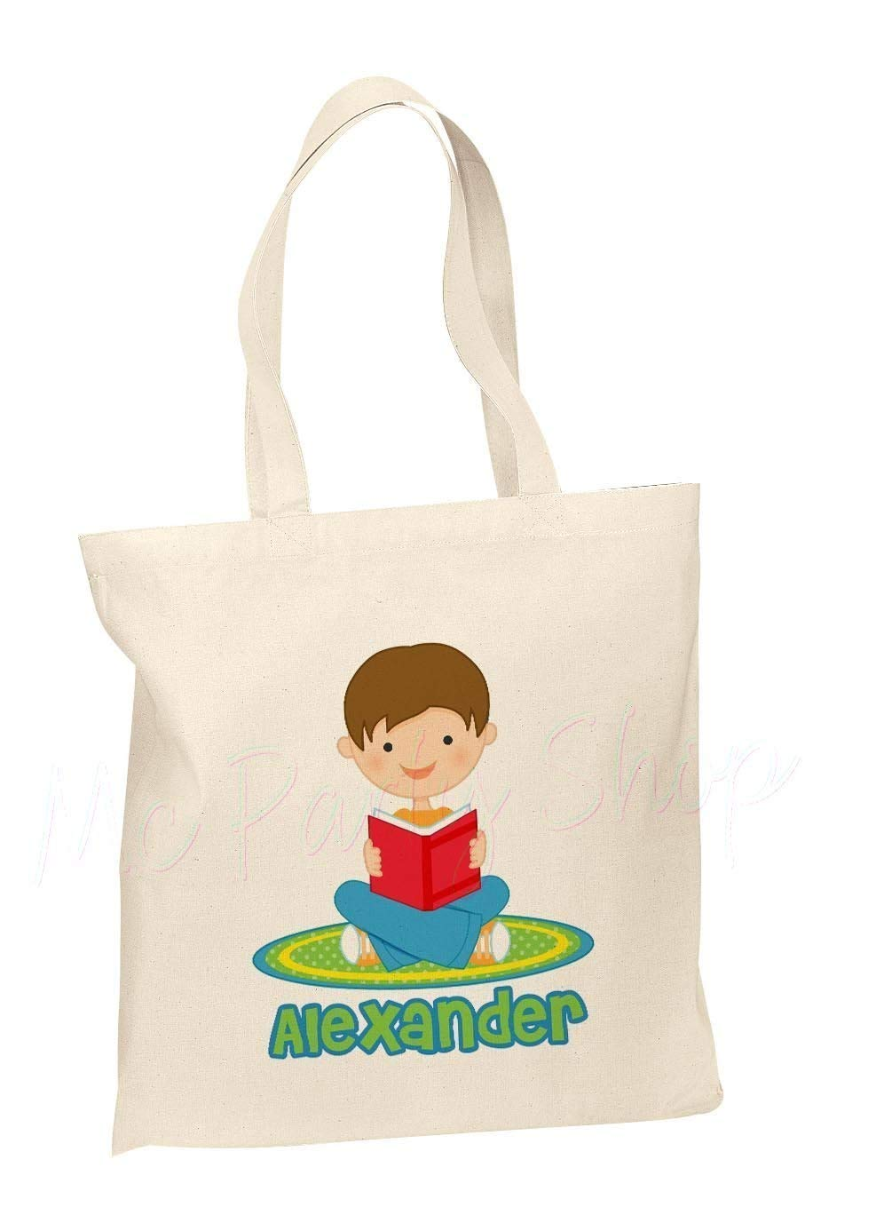 dd7ee6ebbede Amazon.com  Personalized Cotton Tote Bag - Kids Book Bag - Custom Book Bag  - Personalized Library Bag - Girl or Boy  Handmade