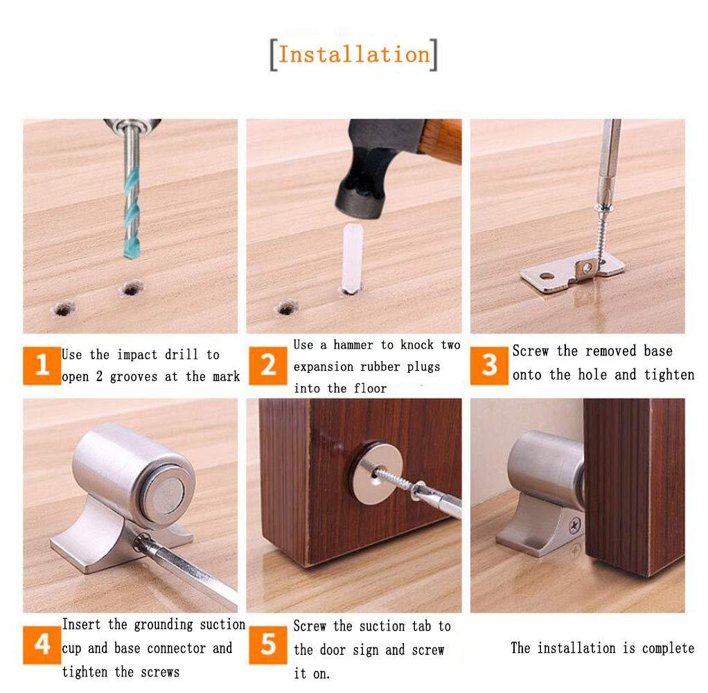 Stainless Steel Doormagnet Door Stop Door Suction,Invisible Door Strong Magnetic Door Touch Super Suction Door Magnetic Doorstops Easy Installation