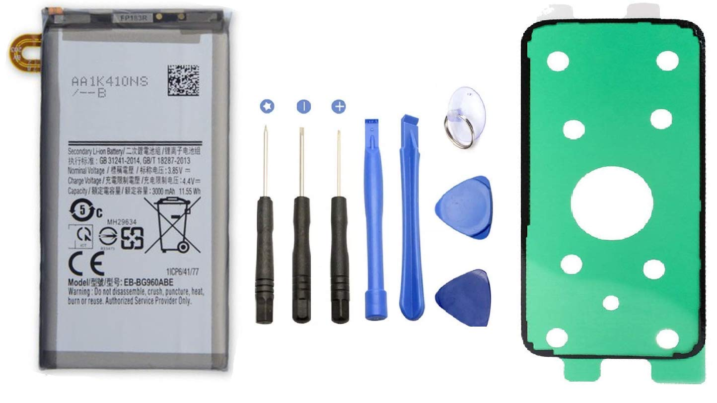 Asesino Battery Compatible with Samsung Galaxy S9 (3000mAh) with Adhesive + Replacement Toolkit for G960W