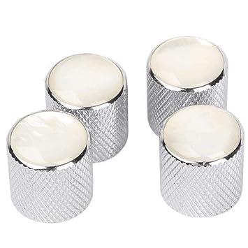 4pcs perillas de control de tono de volumen de metal abovedado perla blanca superior para guitarra