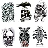 Yesallwas Skull Temporary Tattoo for men,Teens Guys,kids boys (6 Sheets), Waterproof long lasting Fake Tattoos Stickers for Arms Shoulders Chest & Back- crown,Gun,Tree,Tribal Feather,Crow,Clock (A)