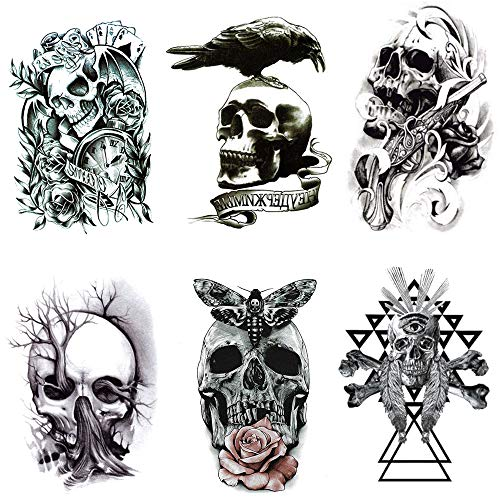 1ff6afc3f Skull Temporary Tattoo for men, Teens Guys,kids boys (6 Sheets) by