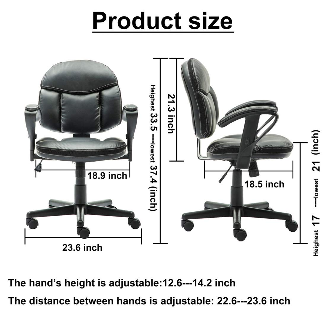 Irene House Comfortable Adult Teen's Swivel Adjustable PU Desk Chair,Ergonomic Mid-Back Student Computer Task Chair,Medium Adult's Home Office Chair(Black) by Irene House (Image #6)