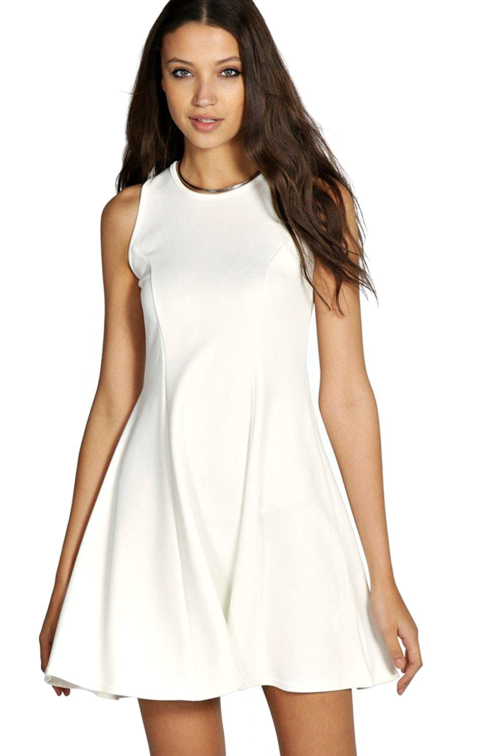 YourPrimeOutlet Cream Womens Tall Candy Panel Scuba Skater Dress - 8   Amazon.co.uk  Clothing 512bc59a2
