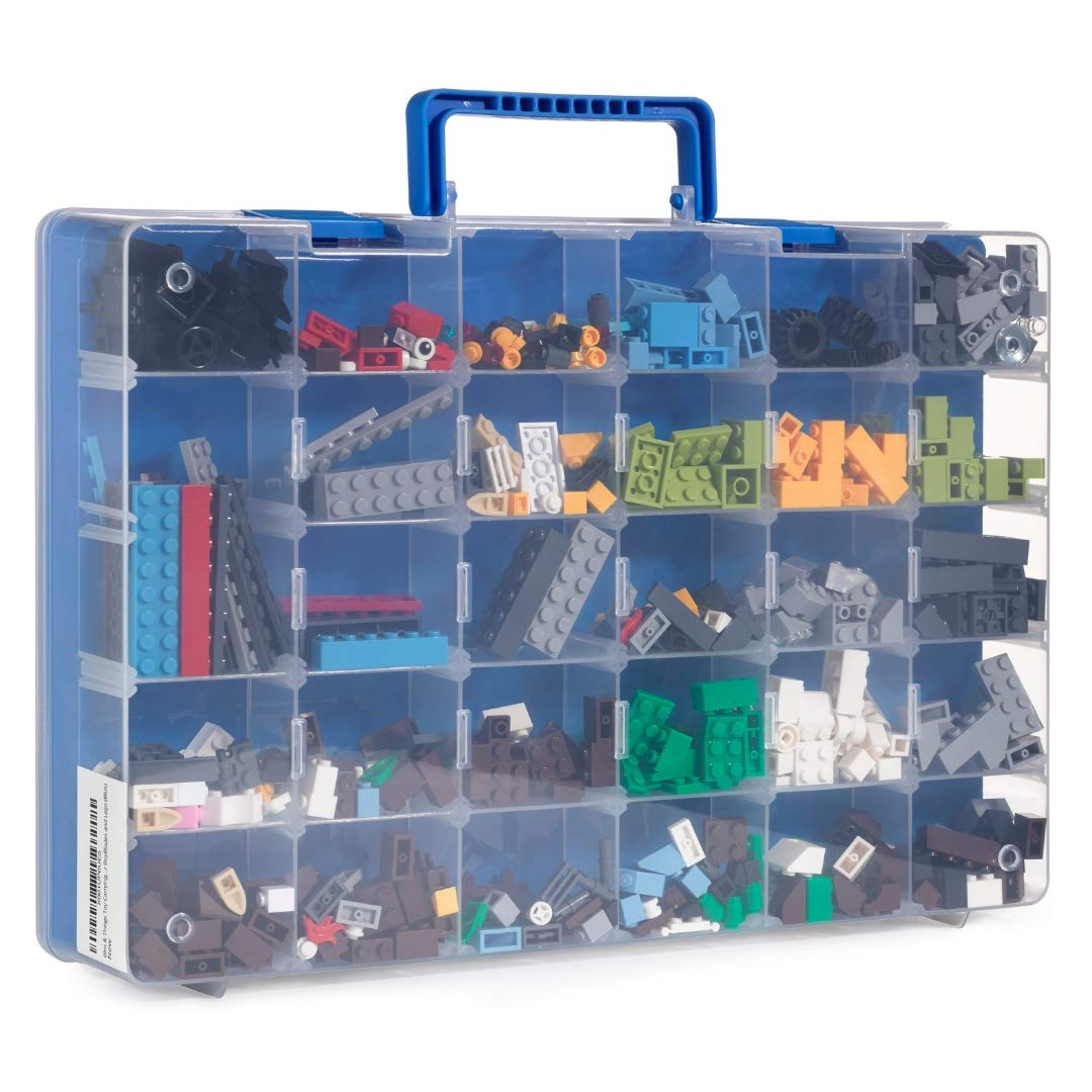 Bins & Things Toy Storage Organizer and Display Case Compatible with Beyblades, LOL Dolls, LPS Figures - Portable Adjustable Box w/Carrying Handle ...