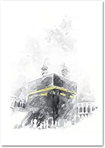 Exquisite poster Canvas Mural,Black White Quotes Canvas Painting Arabic Calligraphy Kaaba Allah Poster Wall Art Print Home Decoration Picture Warm atmosphere