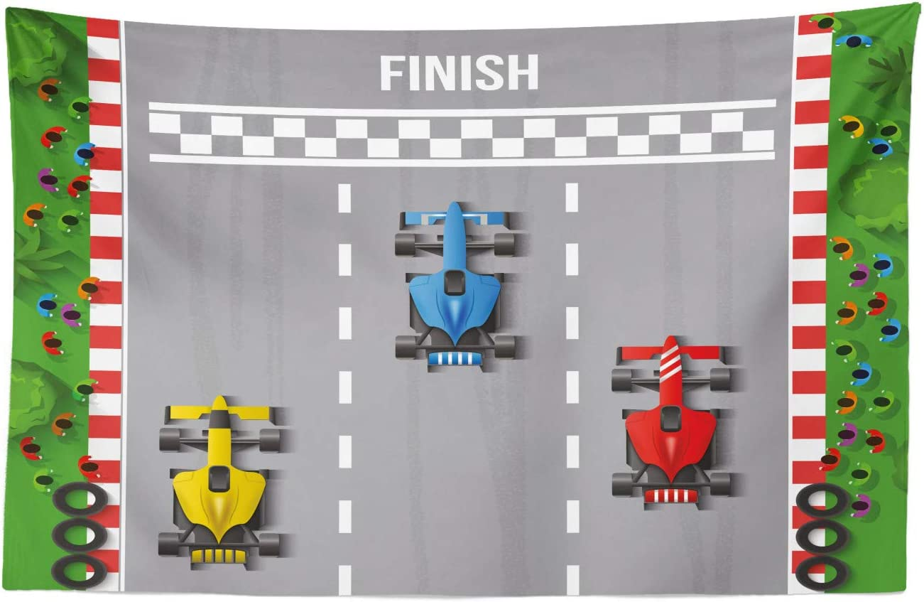 """Lunarable Nursery Tapestry, Car Race Formula Automobiles Competition Winner Champion Speed Team Graphic, Fabric Wall Hanging Decor for Bedroom Living Room Dorm, 45"""" X 30"""", Grey Red"""