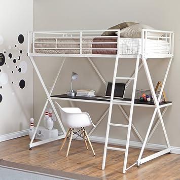 Amazon Com Finley Home Duro Z Bunk Bed Loft With Desk White
