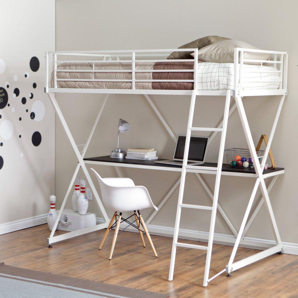 Duro Z Bunk Bed Loft with Desk - White